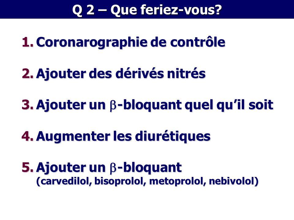 1.Coronarographie de contrôle 2.Ajouter des dérivés nitrés 3.Ajouter un b-bloquant quel quil soit 4.Augmenter les diurétiques 5.Ajouter un b-bloquant (carvedilol, bisoprolol, metoprolol, nebivolol)