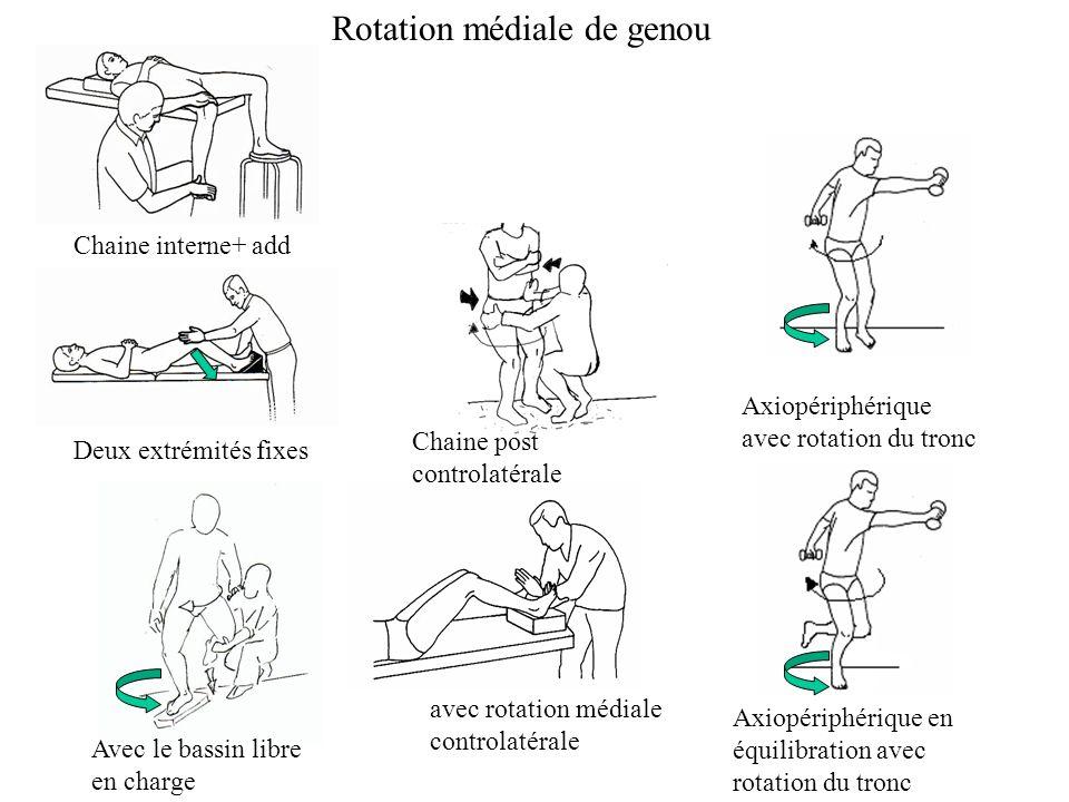 Chaine interne+ add Deux extrémités fixes Rotation médiale de genou avec rotation médiale controlatérale Avec le bassin libre en charge Chaine post controlatérale Axiopériphérique avec rotation du tronc Axiopériphérique en équilibration avec rotation du tronc