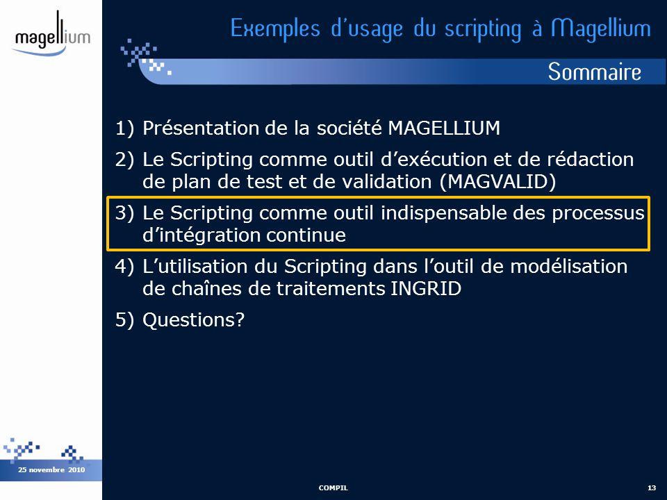 Sommaire 25 novembre 2010 COMPIL13 Exemples dusage du scripting à Magellium 1)Présentation de la société MAGELLIUM 2)Le Scripting comme outil dexécuti