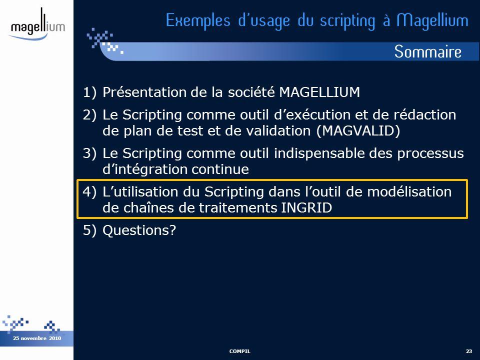 Sommaire 25 novembre 2010 COMPIL23 Exemples dusage du scripting à Magellium 1)Présentation de la société MAGELLIUM 2)Le Scripting comme outil dexécuti