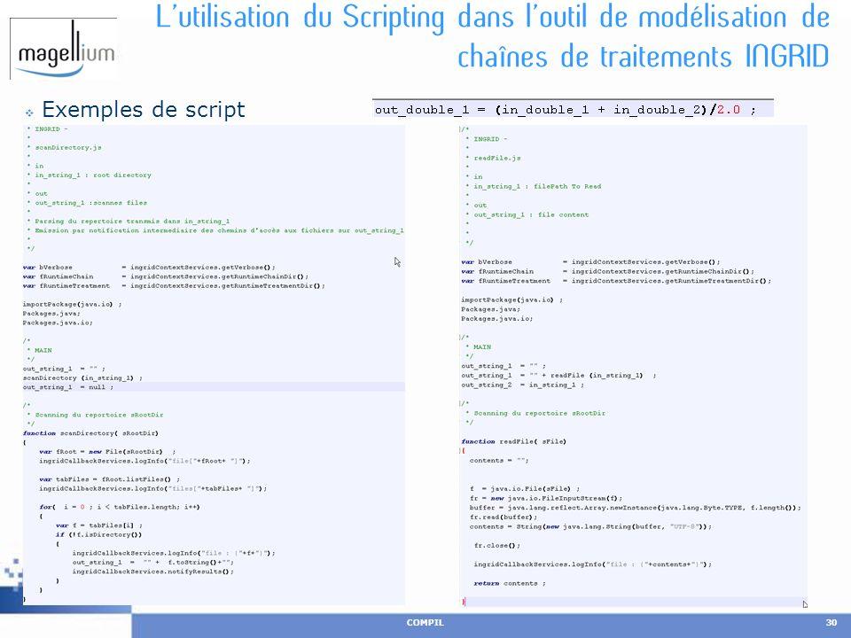 Lutilisation du Scripting dans loutil de modélisation de chaînes de traitements INGRID Exemples de script COMPIL30 25 novembre 2010