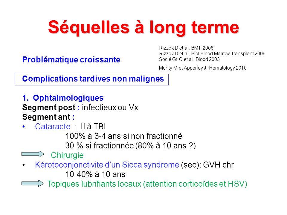 Séquelles à long terme Problématique croissante Complications tardives non malignes 1.Ophtalmologiques Segment post : infectieux ou Vx Segment ant : C