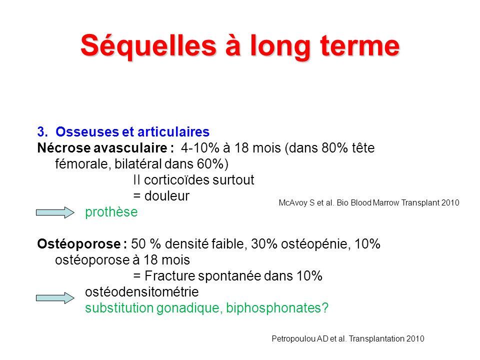 Séquelles à long terme 3. Osseuses et articulaires Nécrose avasculaire : 4-10% à 18 mois (dans 80% tête fémorale, bilatéral dans 60%) II corticoïdes s