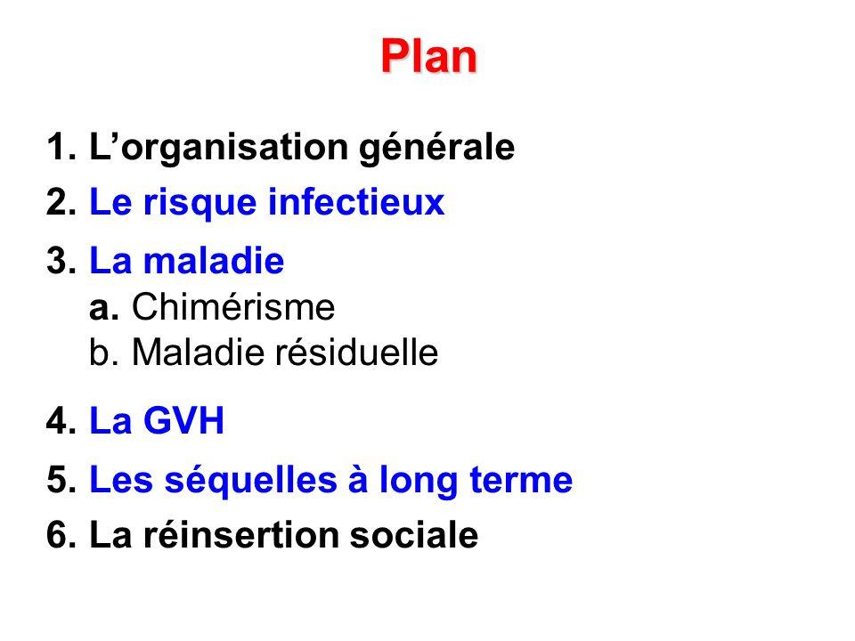 Plan 1. Lorganisation générale 2. Le risque infectieux 3. La maladie a. Chimérisme b. Maladie résiduelle 4. La GVH 5. Les séquelles à long terme 6. La