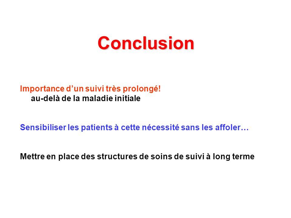 Conclusion Importance dun suivi très prolongé! au-delà de la maladie initiale Sensibiliser les patients à cette nécessité sans les affoler… Mettre en