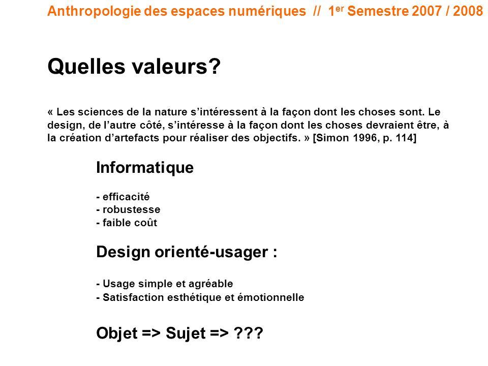 Anthropologie des espaces numériques // 1 er Semestre 2007 / 2008 Quelles valeurs? « Les sciences de la nature sintéressent à la façon dont les choses
