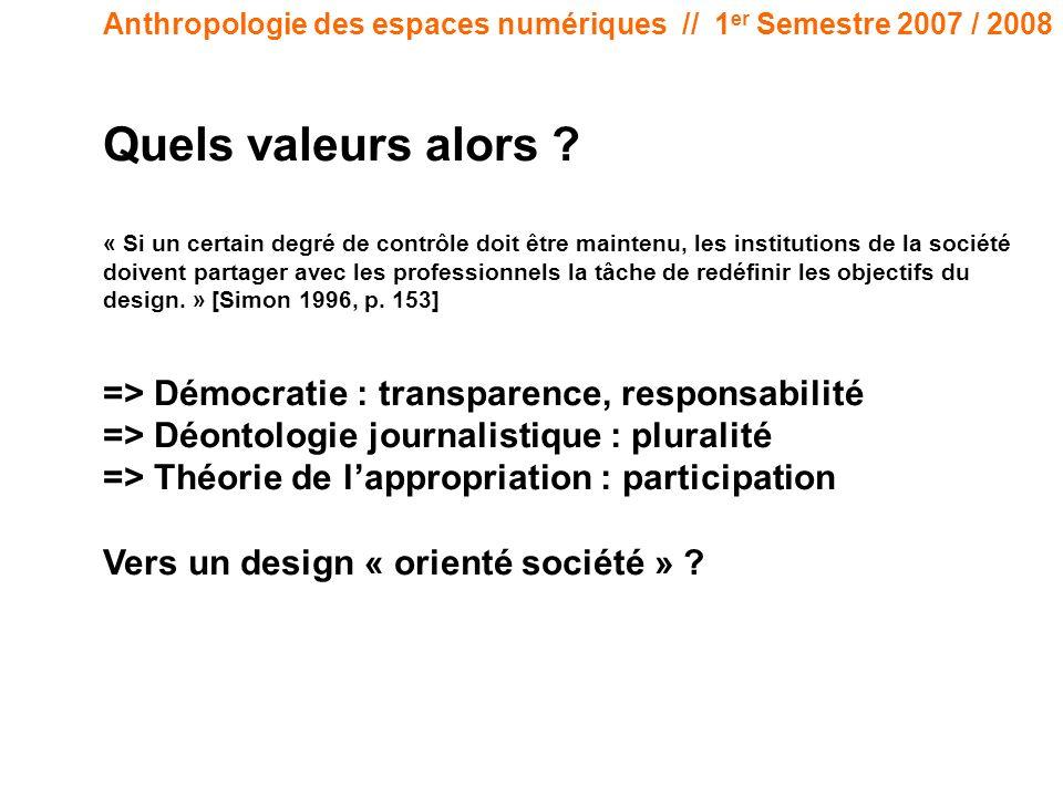 Anthropologie des espaces numériques // 1 er Semestre 2007 / 2008 Quels valeurs alors ? « Si un certain degré de contrôle doit être maintenu, les inst