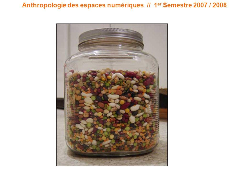 Anthropologie des espaces numériques // 1 er Semestre 2007 / 2008 Code « Si il y a un espace construit, cest le cyberespace.