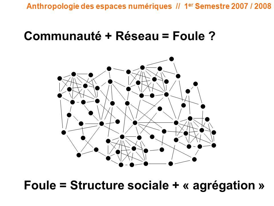 Anthropologie des espaces numériques // 1 er Semestre 2007 / 2008 Communauté + Réseau = Foule ? Foule = Structure sociale + « agrégation »