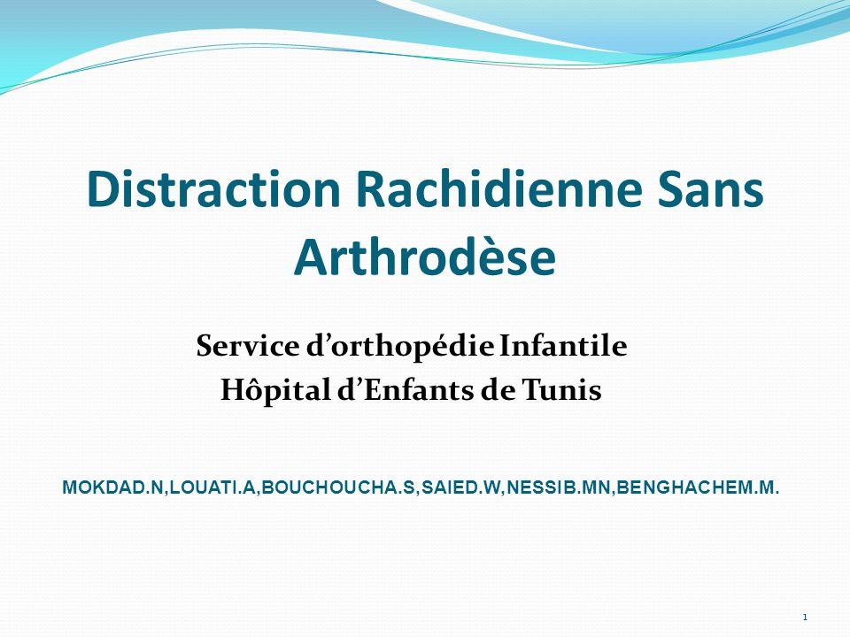 Distraction Rachidienne Sans Arthrodèse Service dorthopédie Infantile Hôpital dEnfants de Tunis 1 MOKDAD.N,LOUATI.A,BOUCHOUCHA.S,SAIED.W,NESSIB.MN,BEN