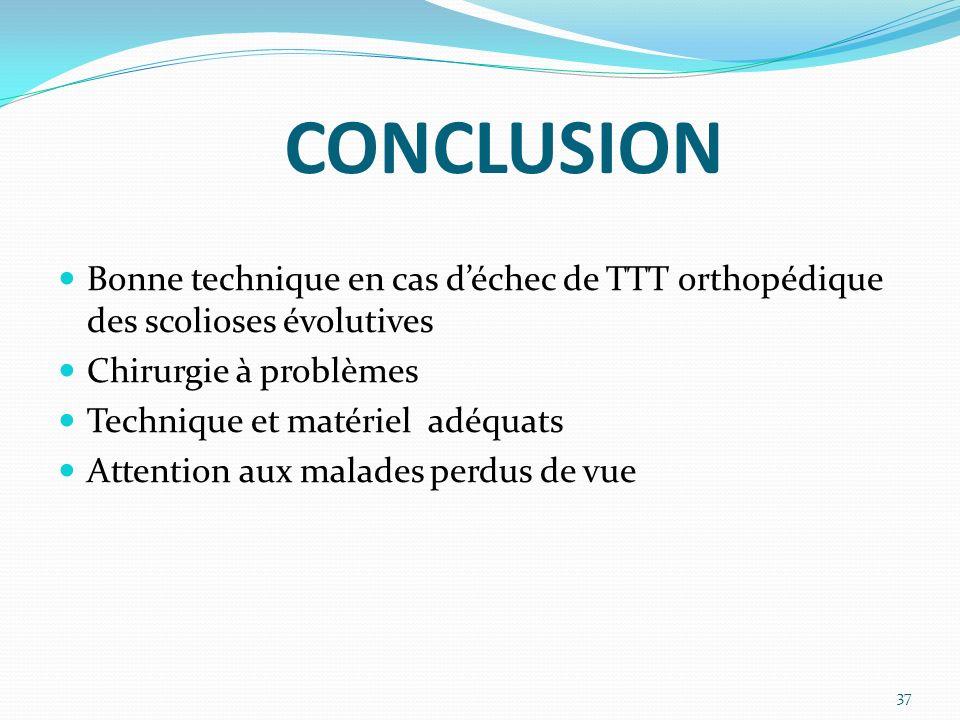 CONCLUSION Bonne technique en cas déchec de TTT orthopédique des scolioses évolutives Chirurgie à problèmes Technique et matériel adéquats Attention aux malades perdus de vue 37