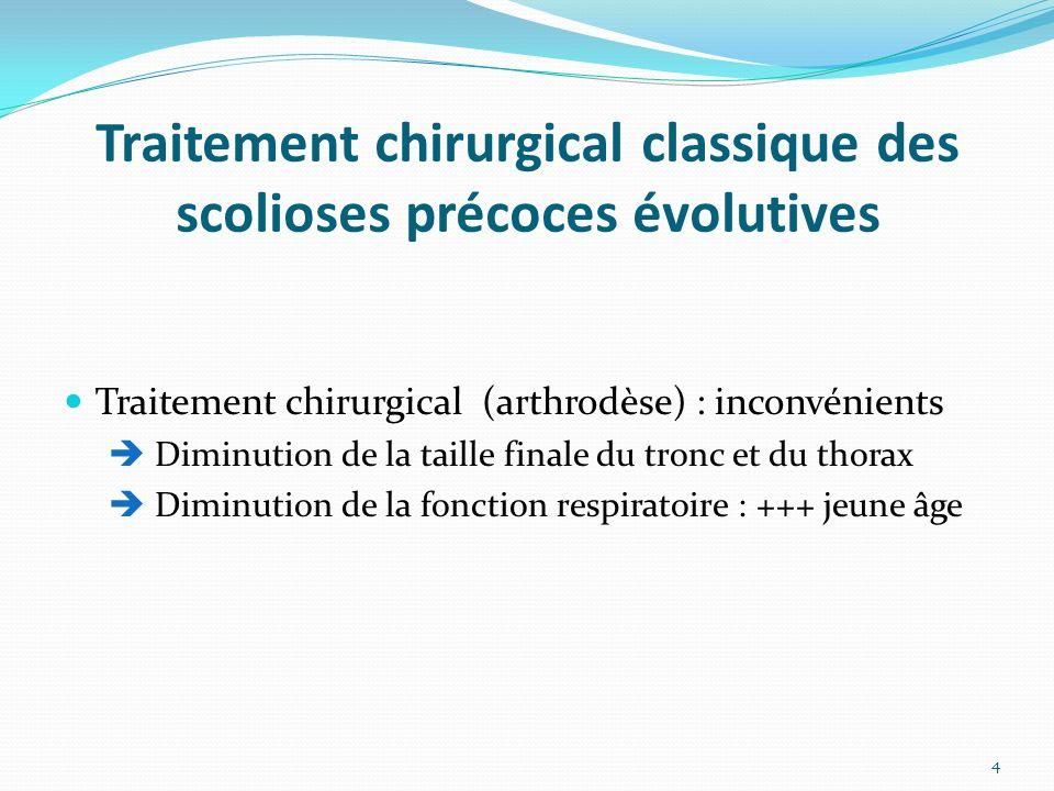 Traitement chirurgical classique des scolioses précoces évolutives Traitement chirurgical (arthrodèse) : inconvénients Diminution de la taille finale du tronc et du thorax Diminution de la fonction respiratoire : +++ jeune âge 4