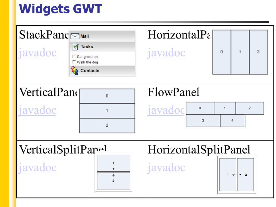 Widgets GWT HorizontalSplitPanel javadoc VerticalSplitPanel javadoc FlowPanel javadoc VerticalPanel javadoc HorizontalPanel javadoc StackPanel javadoc