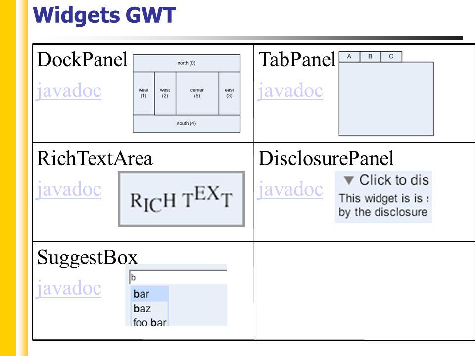 Widgets GWT SuggestBox javadoc DisclosurePanel javadoc RichTextArea javadoc TabPanel javadoc DockPanel javadoc