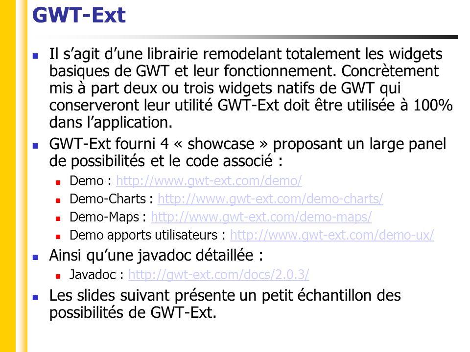 GWT-Ext Il sagit dune librairie remodelant totalement les widgets basiques de GWT et leur fonctionnement.