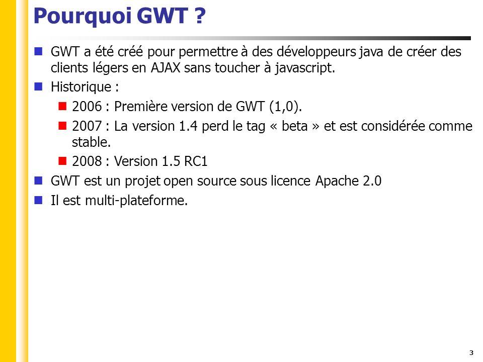 34 Sources GWT JNSI : http://code.google.com/webtoolkit/documentation/com.google.gwt.d oc.DeveloperGuide.JavaScriptNativeInterface.html http://code.google.com/webtoolkit/documentation/com.google.gwt.d oc.DeveloperGuide.JavaScriptNativeInterface.html News : http://www.ongwt.com/http://www.ongwt.com/ Comparatif : http://www.sys-con.com/read/489336_1.htm http://www.sys-con.com/read/489336_1.htm
