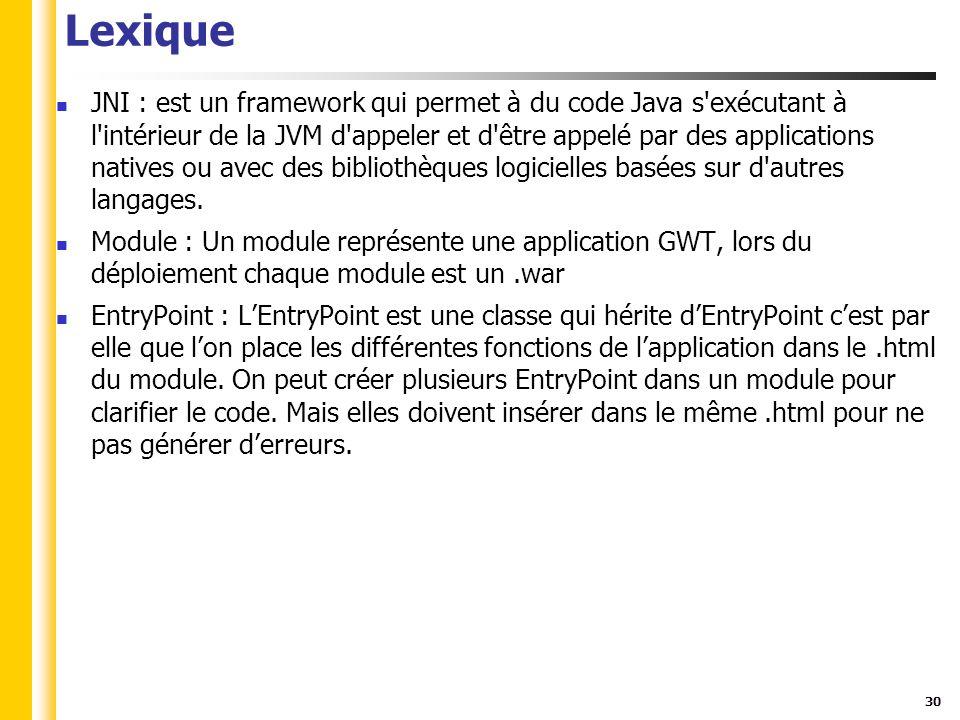 30 Lexique JNI : est un framework qui permet à du code Java s exécutant à l intérieur de la JVM d appeler et d être appelé par des applications natives ou avec des bibliothèques logicielles basées sur d autres langages.