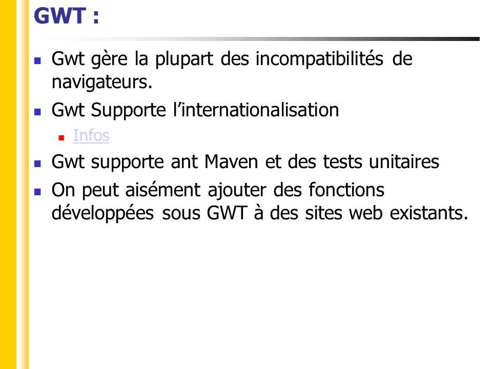 GWT : Principe de fonctionnement Code Java (1.4) Code JavaScript Compilateur GWT Client Serveur Code Java (1.6) Services existants RPC