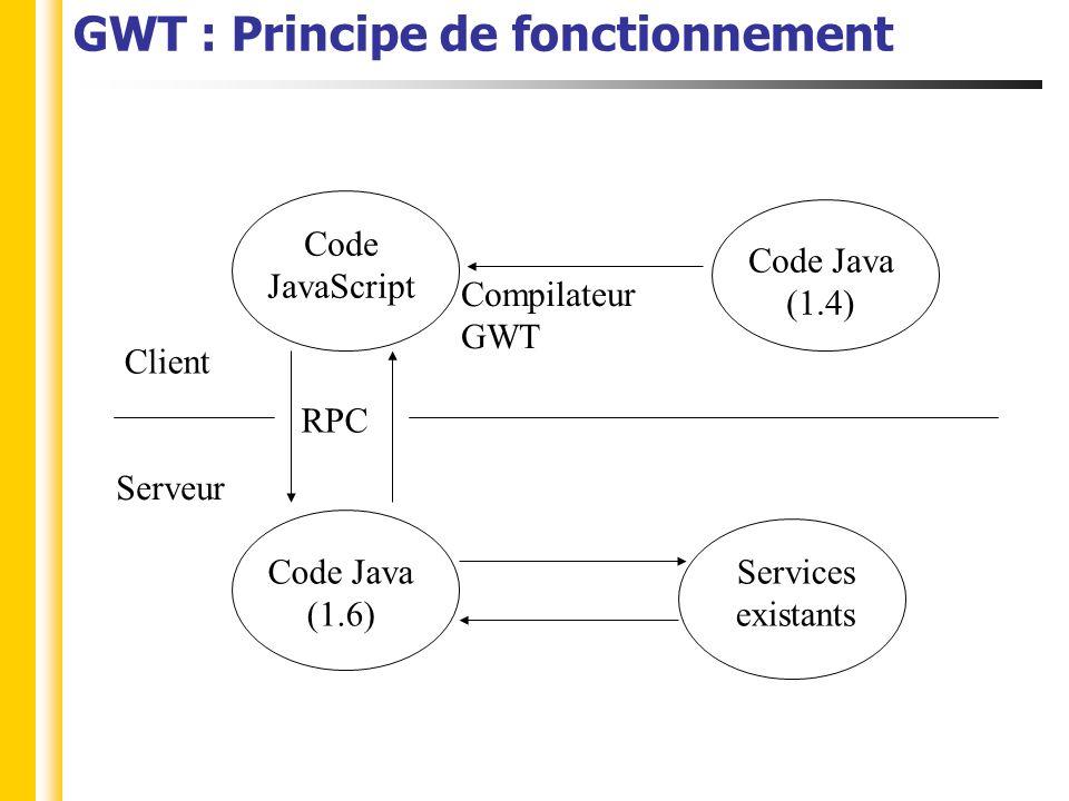 GWT : Principe de fonctionnement.java Java 1.4 max package x.client.java Implémentations des Services Java 1.4, 1.5, 1.6 package x.server Interfaces des services.