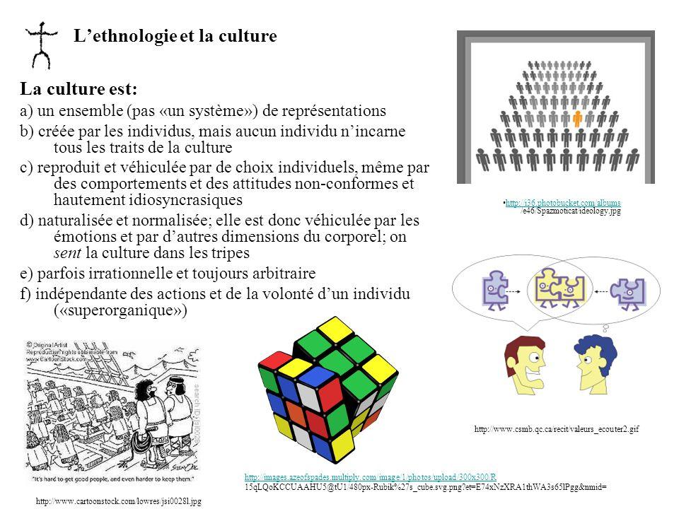 Lethnologie et la culture La culture est: a) un ensemble (pas «un système») de représentations b) créée par les individus, mais aucun individu nincarn