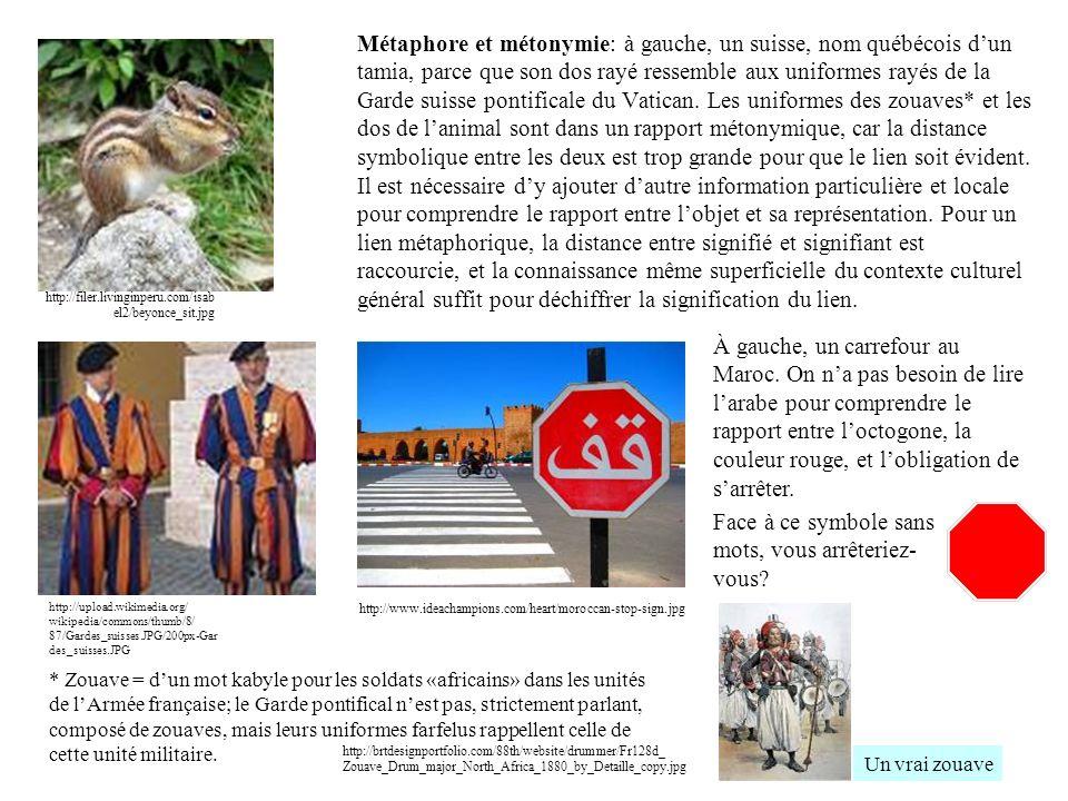 Métaphore et métonymie: à gauche, un suisse, nom québécois dun tamia, parce que son dos rayé ressemble aux uniformes rayés de la Garde suisse pontific
