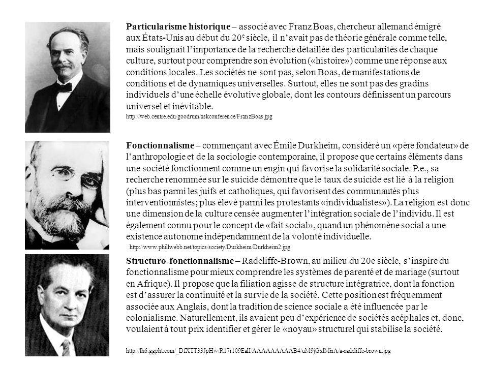 Particularisme historique – associé avec Franz Boas, chercheur allemand émigré aux États-Unis au début du 20 e siècle, il navait pas de théorie généra