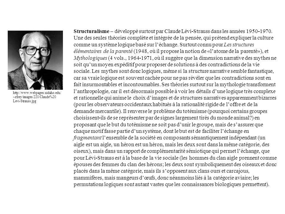 Structuralisme – développé surtout par Claude Lévi-Strauss dans les années 1950-1970. Une des seules théories complète et intégrée de la pensée, qui p
