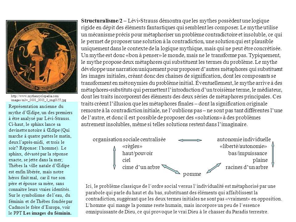 Structuralisme/2 – Lévi-Strauss démontra que les mythes possèdent une logique rigide en dépit des éléments fantastiques qui semblent les composer. Le