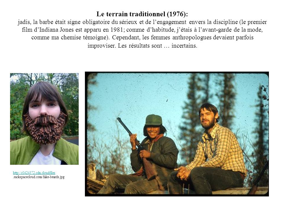 Le terrain traditionnel (1976): jadis, la barbe était signe obligatoire du sérieux et de lengagement envers la discipline (le premier film dIndiana Jo