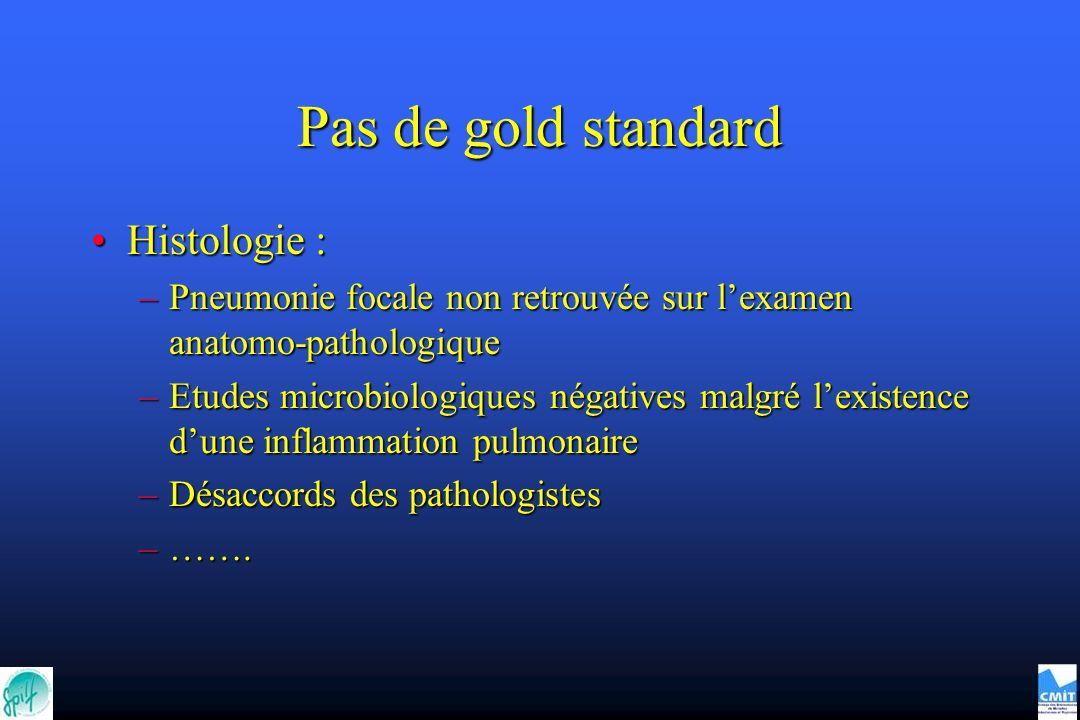 Pas de gold standard Histologie :Histologie : –Pneumonie focale non retrouvée sur lexamen anatomo-pathologique –Etudes microbiologiques négatives malg
