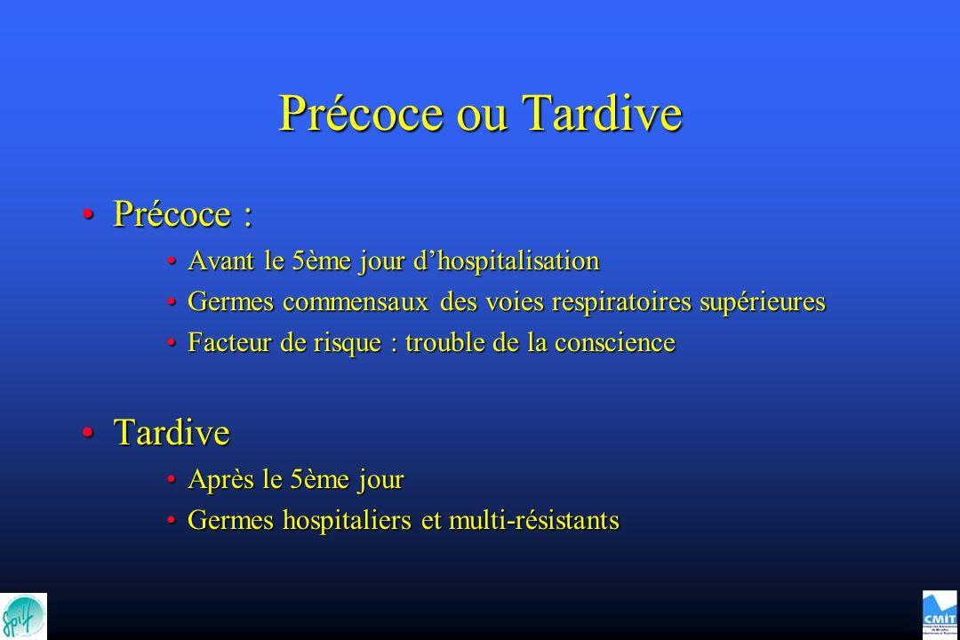 Précoce ou Tardive Précoce :Précoce : Avant le 5ème jour dhospitalisationAvant le 5ème jour dhospitalisation Germes commensaux des voies respiratoires