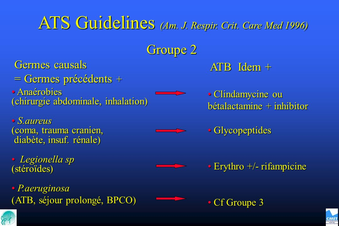 Groupe 2 ATB Idem + ATB Idem + Clindamycine ou bétalactamine + inhibitor Clindamycine ou bétalactamine + inhibitor Glycopeptides Glycopeptides Erythro