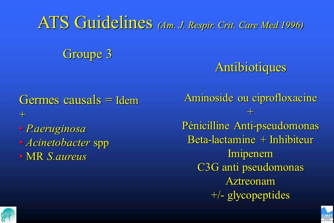 Antibiotiques Aminoside ou ciprofloxacine + Pénicilline Anti-pseudomonas Beta-lactamine + Inhibiteur Imipenem C3G anti pseudomonas Aztreonam +/- glyco