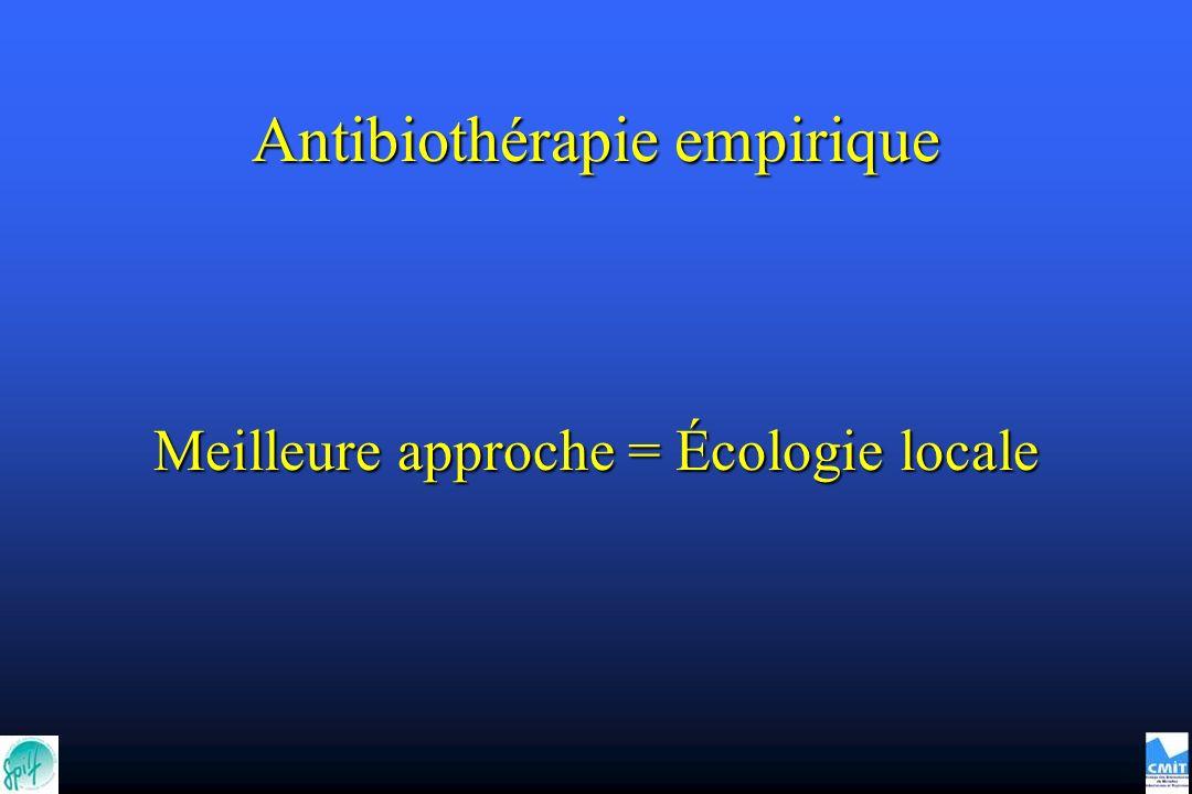 Antibiothérapie empirique Meilleure approche = Écologie locale