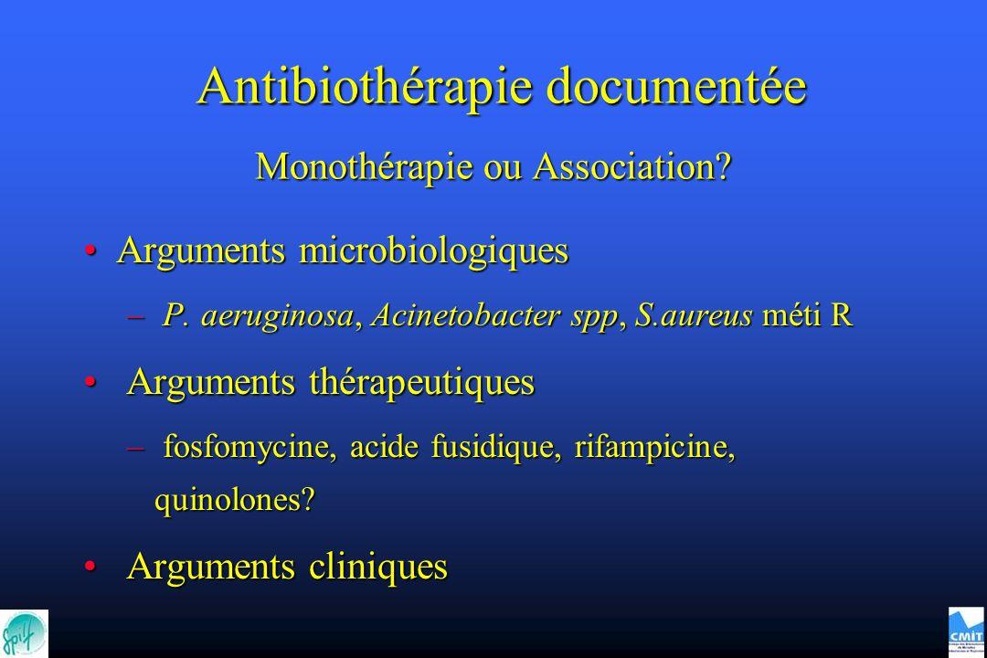 Monothérapie ou Association? Arguments microbiologiquesArguments microbiologiques – P. aeruginosa, Acinetobacter spp, S.aureus méti R Arguments thérap