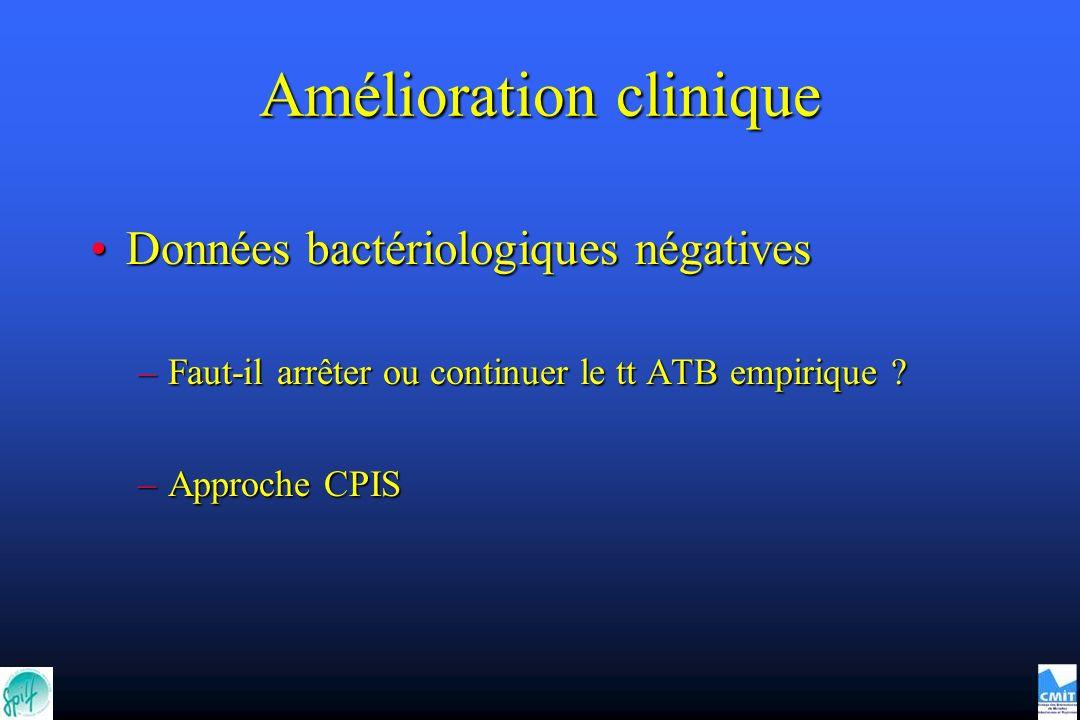 Amélioration clinique Données bactériologiques négativesDonnées bactériologiques négatives –Faut-il arrêter ou continuer le tt ATB empirique ? –Approc