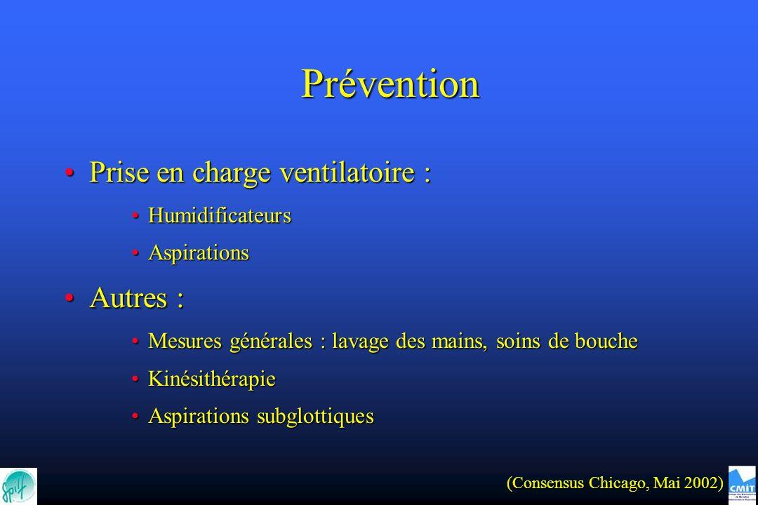 Prise en charge ventilatoire :Prise en charge ventilatoire : HumidificateursHumidificateurs AspirationsAspirations Autres :Autres : Mesures générales
