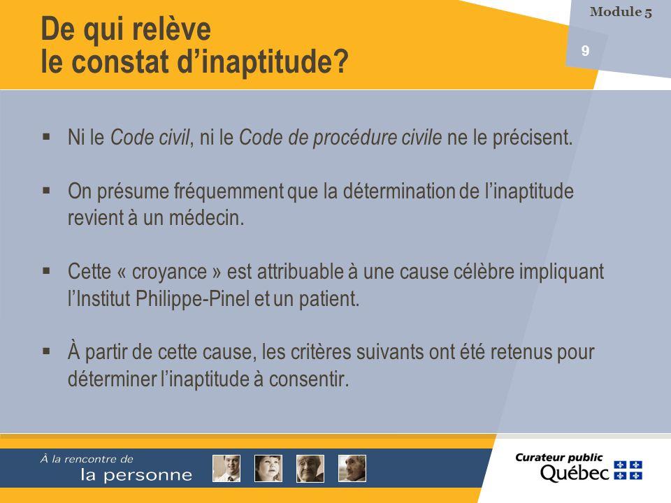 9 Ni le Code civil, ni le Code de procédure civile ne le précisent. On présume fréquemment que la détermination de linaptitude revient à un médecin. C