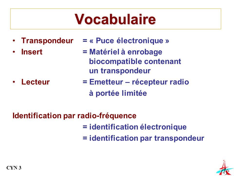Vocabulaire Transpondeur= « Puce électronique » Insert= Matériel à enrobage biocompatible contenant un transpondeur Lecteur= Emetteur – récepteur radio à portée limitée Identification par radio-fréquence = identification électronique = identification par transpondeur CYN 3