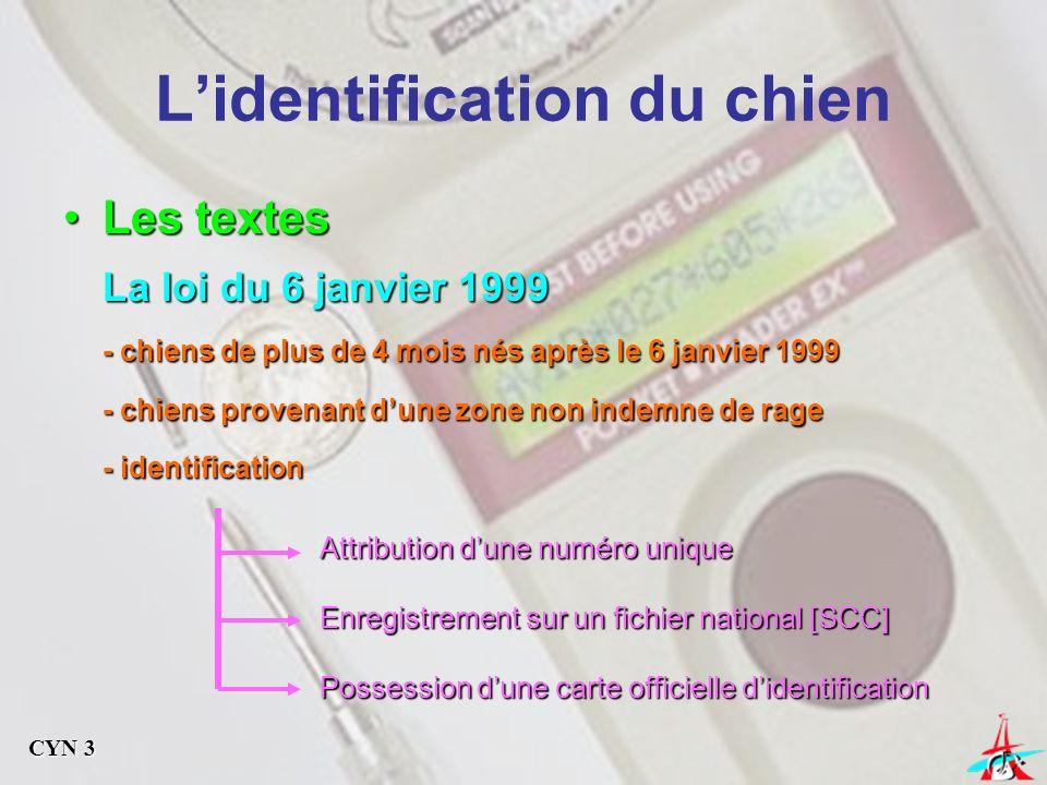 Les textesLes textes Arrêtés du 30/06/1992 et du 02/07/2001 Identification par tatouage Identification par tatouage Identification par radiofréquence Identification par radiofréquence Identification par les deux procédés Identification par les deux procédés Linformation de la mise à jour du fichier national est à la charge : 1/ Initialement de lidentificateur 2/ Du cédant : vendeur ou donateur 3/ De lopérateur : échange ou importation 4/ Du propriétaire : changement de domicile Lidentification du chien CYN 3