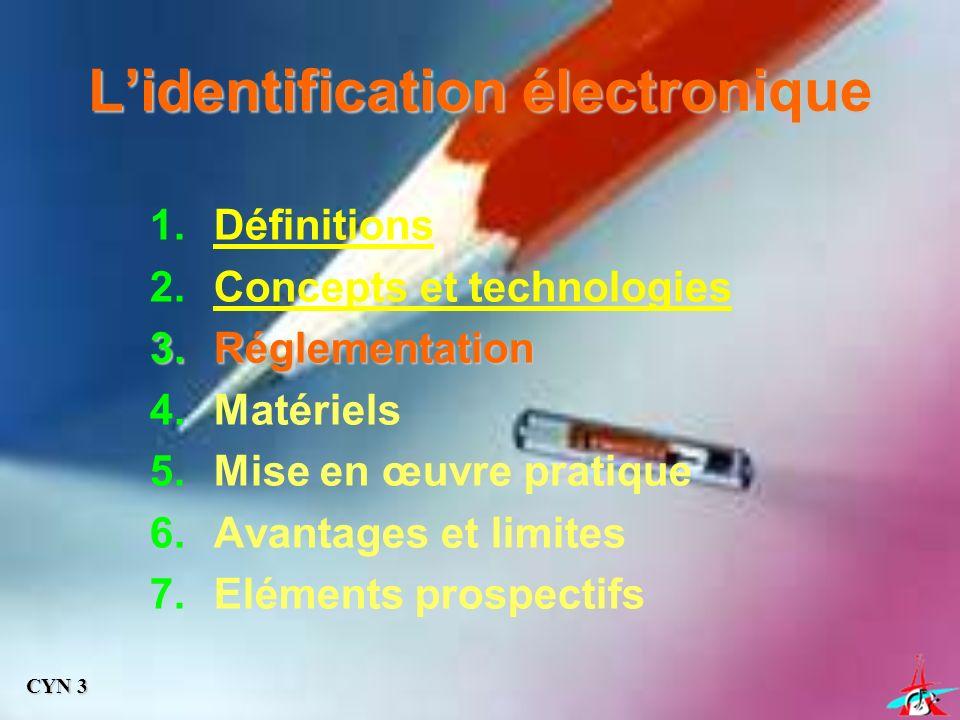 Lidentification électronique 1.Définitions 2.Concepts et technologies 3.Réglementation 4.Matériels 5.Mise en œuvre pratique 6.Avantages et limites 7.Eléments prospectifs CYN 3