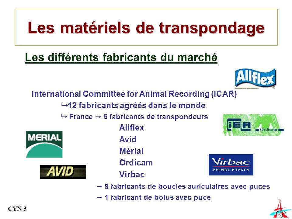 Les matériels de transpondage Les différents fabricants du marché International Committee for Animal Recording (ICAR) 12 fabricants agréés dans le monde France 5 fabricants de transpondeurs Allflex Avid Mérial Ordicam Virbac 8 fabricants de boucles auriculaires avec puces 1 fabricant de bolus avec puce CYN 3
