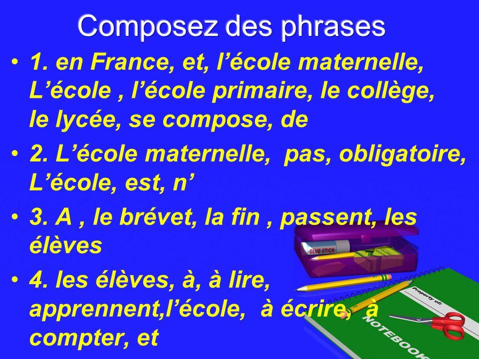 1. en France, et, lécole maternelle, Lécole, lécole primaire, le collège, le lycée, se compose, de 2. Lécole maternelle, pas, obligatoire, Lécole, est