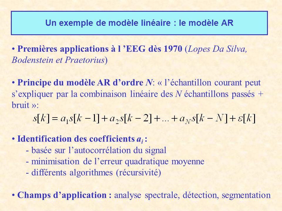 Un exemple de modèle linéaire : le modèle AR Premières applications à l EEG dès 1970 (Lopes Da Silva, Bodenstein et Praetorius) Principe du modèle AR
