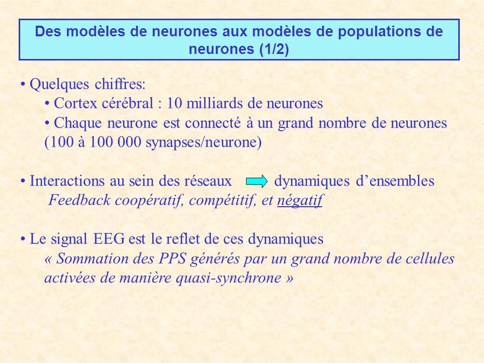 Des modèles de neurones aux modèles de populations de neurones (1/2) Quelques chiffres: Cortex cérébral : 10 milliards de neurones Chaque neurone est connecté à un grand nombre de neurones (100 à 100 000 synapses/neurone) Interactions au sein des réseaux dynamiques densembles Feedback coopératif, compétitif, et négatif Le signal EEG est le reflet de ces dynamiques « Sommation des PPS générés par un grand nombre de cellules activées de manière quasi-synchrone »