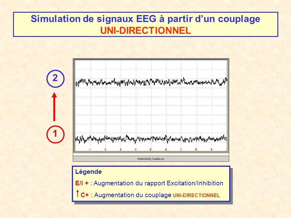 Simulation de signaux EEG à partir dun couplage UNI-DIRECTIONNEL 1 2 Légende E/I + : Augmentation du rapport Excitation/Inhibition C+ : Augmentation du couplage UNI-DIRECTIONNEL Légende E/I + : Augmentation du rapport Excitation/Inhibition C+ : Augmentation du couplage UNI-DIRECTIONNEL