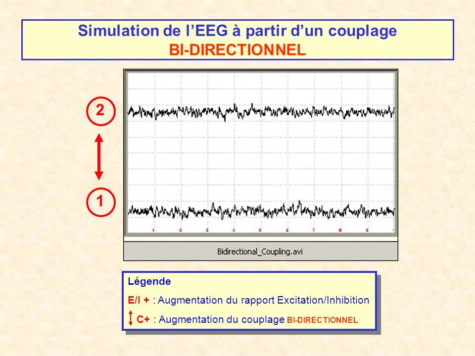 Simulation de lEEG à partir dun couplage BI-DIRECTIONNEL 1 2 Légende E/I + : Augmentation du rapport Excitation/Inhibition C+ : Augmentation du coupla