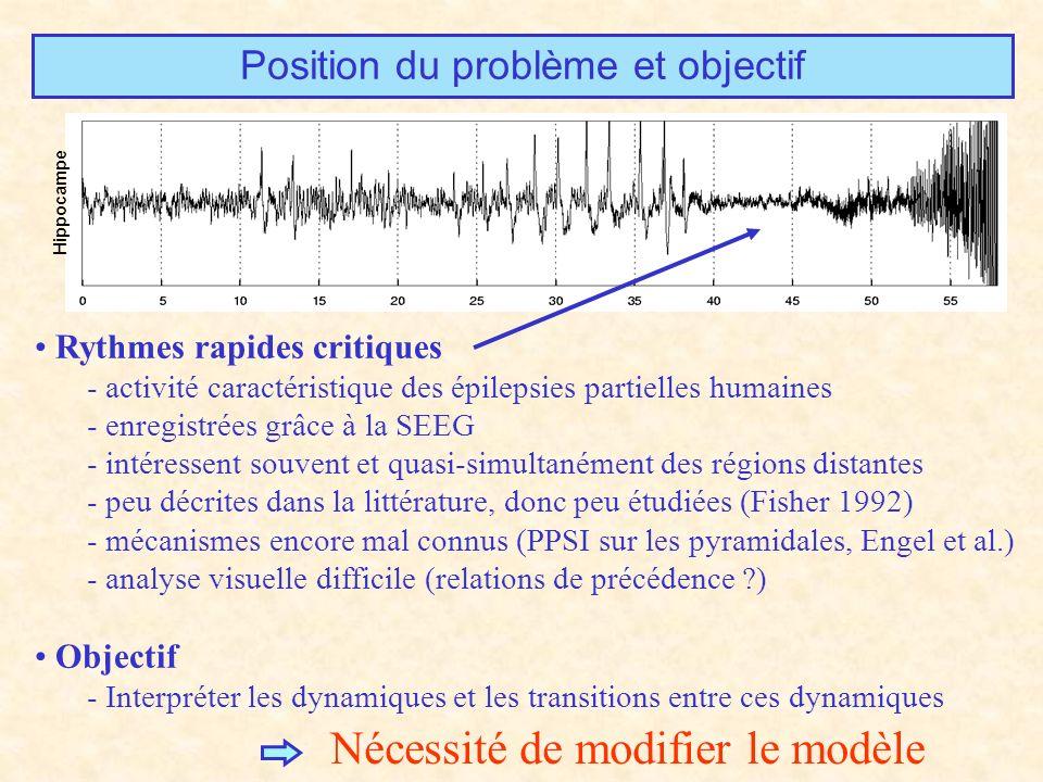 Position du problème et objectif Rythmes rapides critiques - activité caractéristique des épilepsies partielles humaines - enregistrées grâce à la SEEG - intéressent souvent et quasi-simultanément des régions distantes - peu décrites dans la littérature, donc peu étudiées (Fisher 1992) - mécanismes encore mal connus (PPSI sur les pyramidales, Engel et al.) - analyse visuelle difficile (relations de précédence ?) Objectif - Interpréter les dynamiques et les transitions entre ces dynamiques Hippocampe Nécessité de modifier le modèle