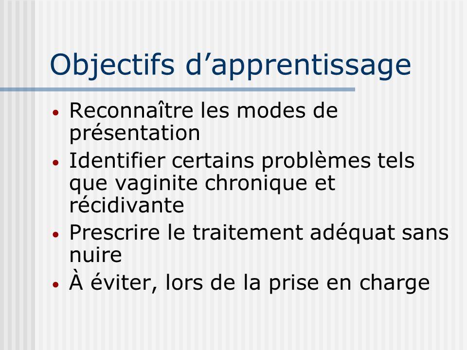 Objectifs dapprentissage Reconnaître les modes de présentation Identifier certains problèmes tels que vaginite chronique et récidivante Prescrire le t