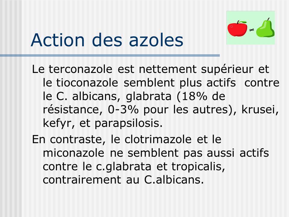 Action des azoles Le terconazole est nettement supérieur et le tioconazole semblent plus actifs contre le C. albicans, glabrata (18% de résistance, 0-